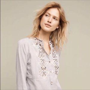 Anthropologie floreat jeweled embellished blouse